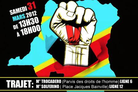 France: Grande marche «Kabila, crédit épuisé – Solde insuffisant pour diriger la RD Congo», le 31 mars 2012 à Paris