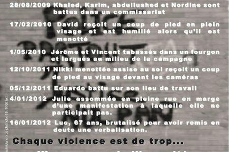 Belgique: Manifestation contre les violences policières, le 15 mars 2012 à Bruxelles