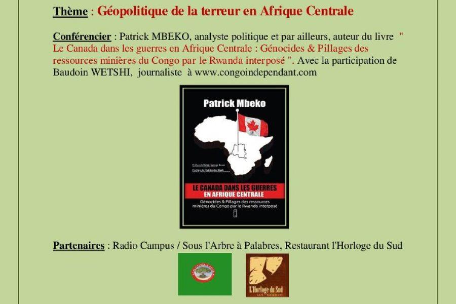 Conférence «Géopolitique de la terreur en Afrique centrale» – 11 mai 2013 à Bruxelles