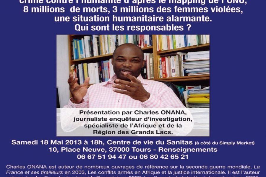 Conférence » La tragédie congolaise» avec M. Onana – 18 mai 2013 à Tours