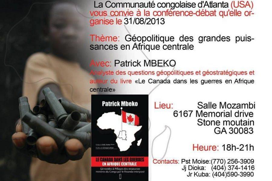 Conférence – Géopolitique des grandes puissances en Afrique centrale – 31 août 2013 à Atlanta (USA)