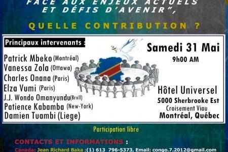 Colloque – La diaspora congolaise face aux enjeux actuels et défis d'avenir – Le 31 mai 2014 à Montréal