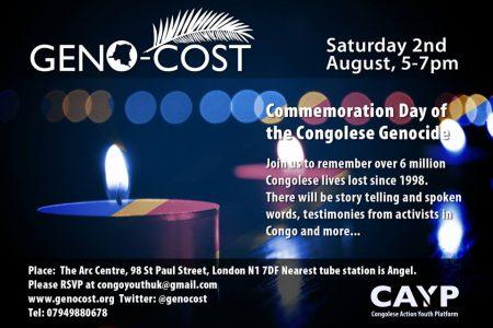 Geno-Cost – Commémoration du génocide congolais – 2 Août 2014 à Londres