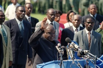 Rebel leader Laurent Desire Kabila takes