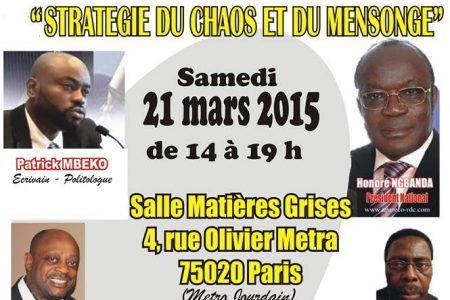 Conférence et Séance de dédicace du livre «Stratégie du chaos et du mensonge» – 21 mars 2015 à Paris