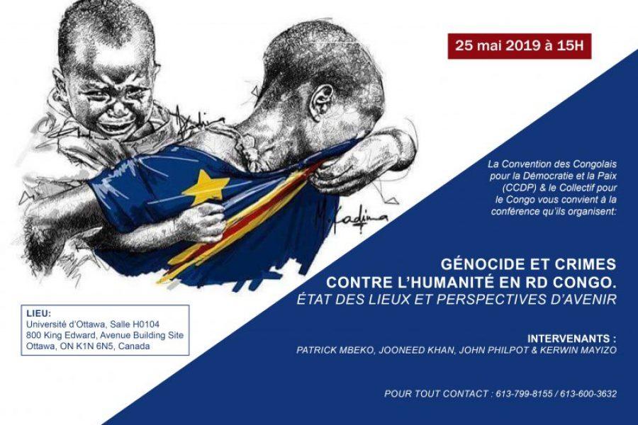 Conférence | Génocide et crimes contre l'humanité en RD Congo | Ottawa – 25 mai 2019